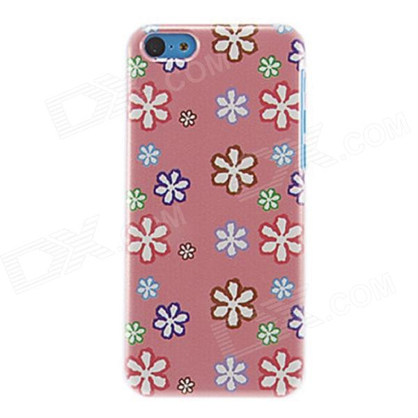 Kinston Colorful Six-Petals Flowers Pattern Plastic Back Case for IPHONE 5C - Pink + White
