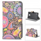 YIYI Stylish Patterned Flip-open PU Case w/ Holder + Card Slot for Samsung Galaxy S5 - Black + Red