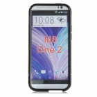 """S"" Style Protective TPU + PC Back Case w/ Stand for HTC ONE 2 (M8) - Black+ Transparent"