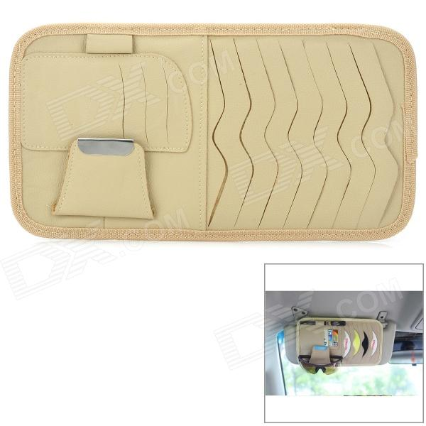 003 Multifunctional Car Sunshade Cover CD Storage Bag - Beige + Silver