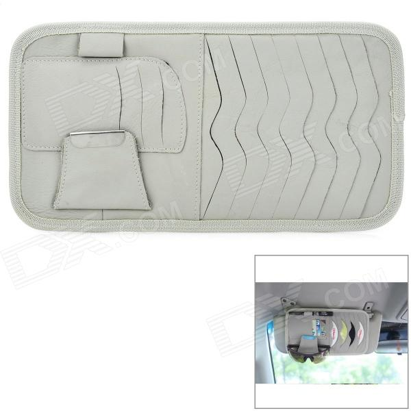 003 Multifunctional Car Sunshade Cover CD Storage Bag - Grey double deck auto car sunshade board with cd storage bag black white holds 12cd