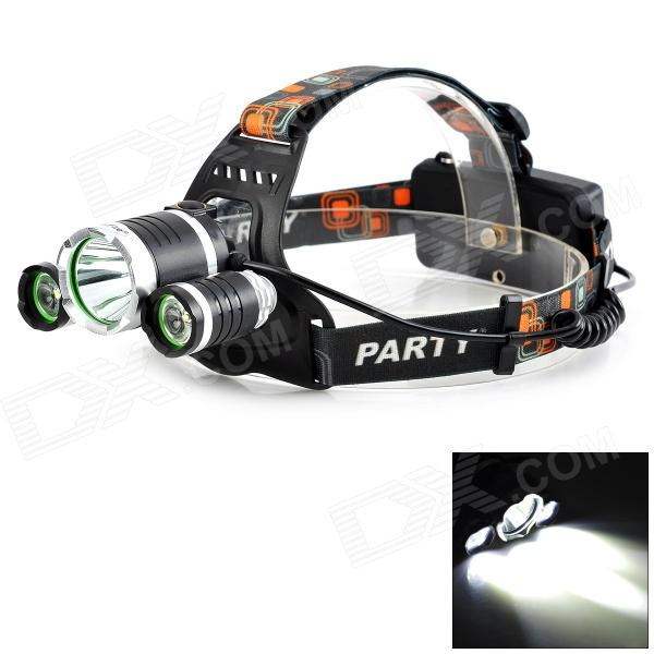 LetterFire 3-LED 800lm 4-Mode White Light Headlamp - Black + Silver (1 / 2 x 18650) 950lm 3 mode white bicycle headlamp w cree xm l t6 black silver 2 x 18650