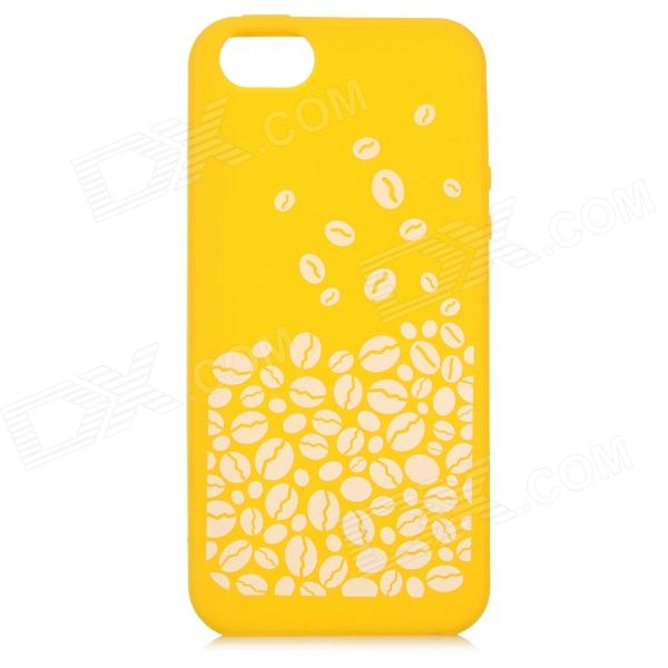 где купить Stylish Patterned Anti-slip Flexible Silicone Back Case for IPHONE 5 / 5S - Yellow + White дешево