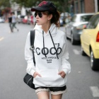 COCO Letter Pattern Sports Cotton + Fleece Hooded Sweatshirt - White + Black (Free Size)