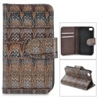 Stylish Patterned Flip-open PU + PC Case w/ Holder + Card Slot for IPHONE 4 / 4S - Black + Bronze