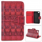 Stylish Patterned Flip-open PU + PC Case w/ Holder + Card Slot for IPHONE 4 / 4S - Red