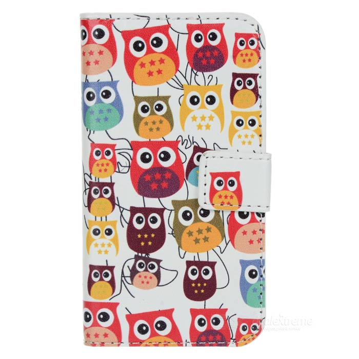 Cute Cartoon Owl Pattern Flip-open PU Case w/ Holder + Card Slot for IPHONE 4 / 4S - White + Red cute cartoon cat pattern pu long wallet for women watermelon red
