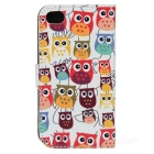 Cute Cartoon Owl Pattern Flip-open PU Case w/ Holder + Card Slot for IPHONE 4 / 4S - White + Red