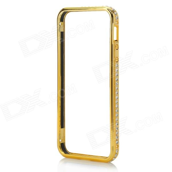 Aluminiumslegering + Rhinestone metall støtfanger ramme Case for IPHONE 5 / 5S - Golden