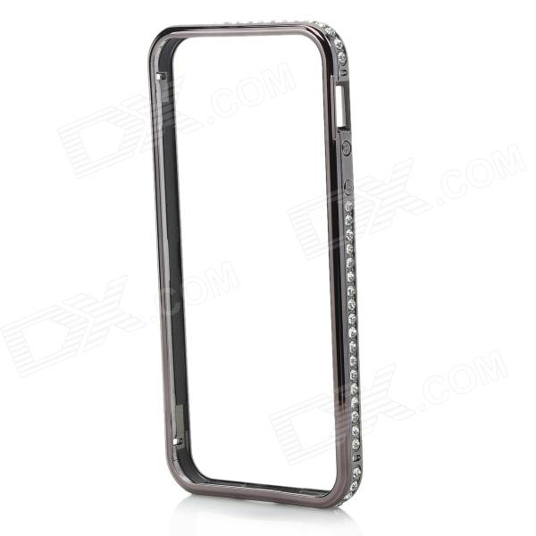 Aluminum Alloy + Rhinestone Metal Bumper Frame Case for IPHONE 5 / 5S - Black point back rhinestone ss4 14400pieces 100gross jet black color chaton free shipping