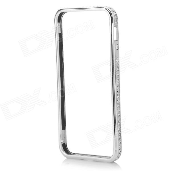 Aluminum Alloy + Rhinestone Metal Bumper Frame Case for IPHONE 5 / 5S - Silver qqv6 aluminum alloy 11 blade cooling fan for graphics card silver 12cm