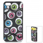 Stylish Eye Ball Pattern Plastic Back Case w/ Card Holder for IPHONE 5 / 5S - Blue + Yellow