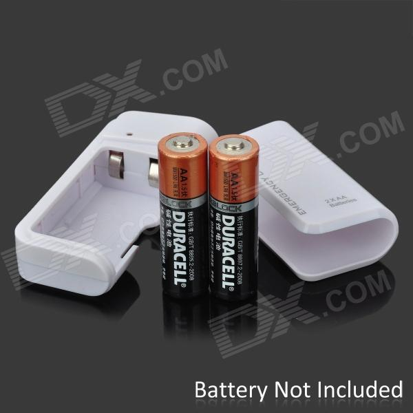 Usb Aa Battery Emergency Charger For Iphone Ipad Ipod White 5v Free Shipping Dealextreme
