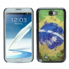 2014 World Cup Brazil Flag Pattern Metal Case Cover w/ Card Slot for Samsung Galaxy Note 2