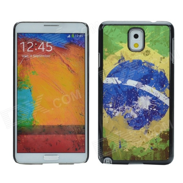 2014 World Cup Brazil Flag Pattern Metal Case Cover w/ Card Slot for Samsung Galaxy Note 3