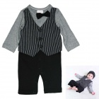 HY2062 Gentleman Vest Cotton Baby's Long Sleeve Infant Romper Cloth - Black + Gray (Size-S)