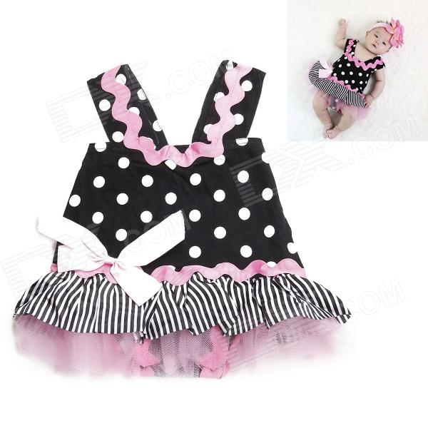 DHY2145 Lovely Princess Skirt Baby's Infant Romper Cloth - Black + White + Pink (Size-L)