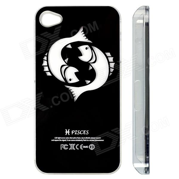 ZH01 Pisces Pattern LED Flash Light Protective ABS Back Case for IPHONE 4 / 4S - Black eiffel raindrop pattern protective abs hard back case w rhinestone for iphone 4 4s light yellow