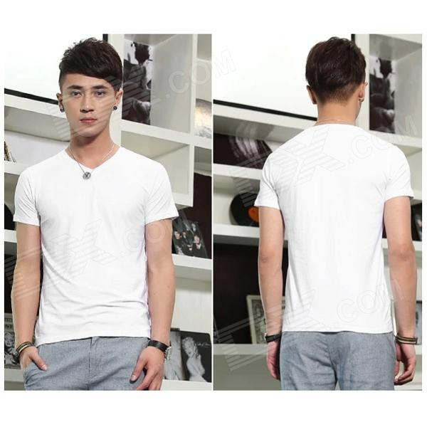T-01 Cotton Short-Sleeve V-Neck Tight T-shirt for Men - White (M)