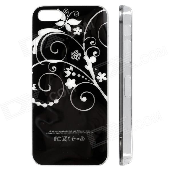 Flowers Vine Pattern LED Flash Color Changing Protective ABS Back Case for IPHONE 5 / 5S - Black zh01 good luck dragon pattern led flash light color changing protective back case for iphone 4 4s