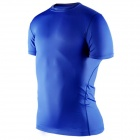 1987114 Outdoor Sports Polyester + Spandex Tight Short-Sleeve T-Shirt for Men - Blue (L)