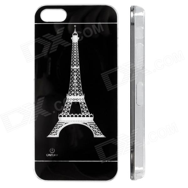 Eiffel Tower Pattern LED Flash Color Changing Protective ABS Back Case for IPHONE 5 / 5S - Black zh01 good luck dragon pattern led flash light color changing protective back case for iphone 4 4s