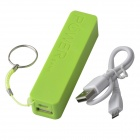 Portable 1500mAh Mobile Power Bank w/ Hanging Ring / Charging Cable (22cm) - Green