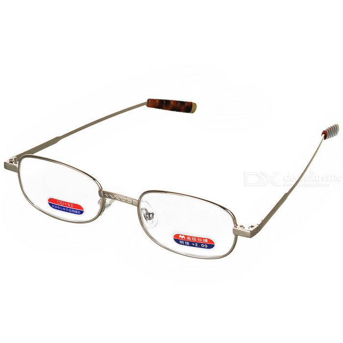 Alloy Frame Reading Glasses with Hard Protective Case (+2.00D)