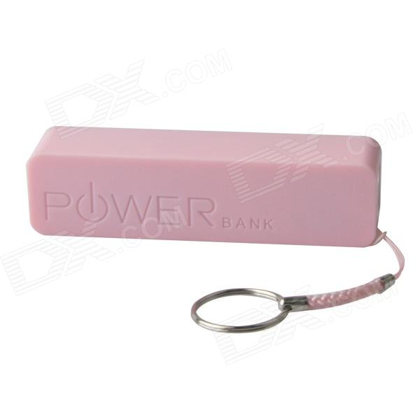 Portable 1500mAh Mobile Power Bank w/ Hanging Ring / Charging Cable - Pink portable 6000mah power bank w flashlight for mobile tablet pc more pink white