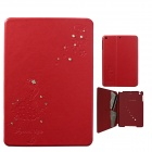 Front Rhinestone Protective PU Leather Case w/ Card Slots / Stand for IPAD MINI - Red