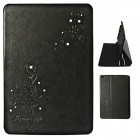 Front Rhinestone Protective PU Leather Case w/ Stand / Card Slots for IPAD MINI - Black