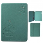 Front Rhinestone Protective PU Leather Case w/ Card Slots / Stand for IPAD MINI - Blue