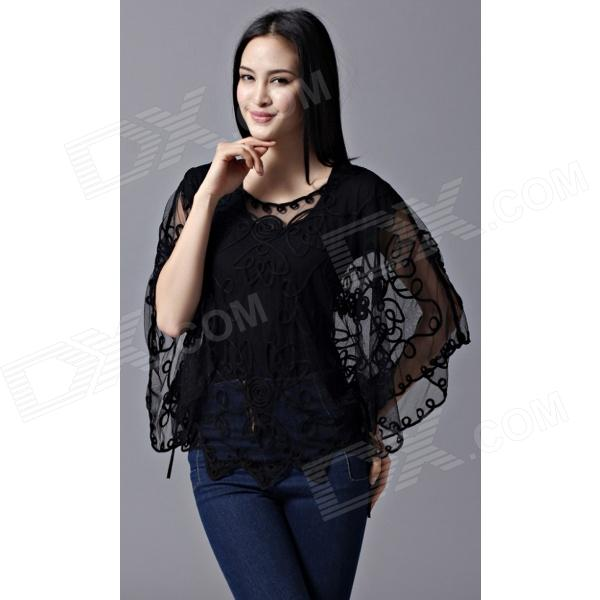 Fashion Mesh Yarn Blouse for Women - Black (Free Size)