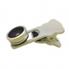 Universal Clip-On Wide Angle Fish Eye + Macro Lenses for Phone and Tablet PC - White + Silver