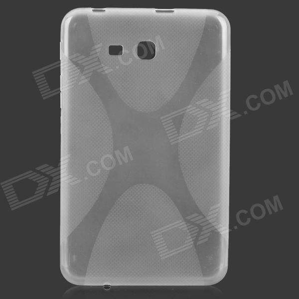 X Pattern Protective TPU Case w/ Screen Protector for Samsung T110 / T111 - Translucent White protective silicone case for nds lite translucent white