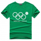 003 Fashionable Sochi Faulty Olympic Rings Pattern Cotton T-shirt - Green + White (L)