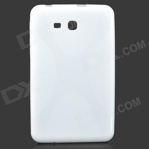Sunshine X Pattern Protective TPU Case w/ Screen Protector for Samsung T110 / T111 - Milky White