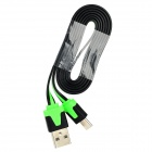 USB Male to Micro USB Male Flat Data Charging Cable - Black + Green (100cm)