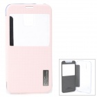 ROCK TZ-S5001 Protective PC + PU Case w/ Auto-Sleep for Samsung Galaxy S5 - Pink + Transparent
