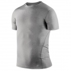 1987114 Outdoor Sports Polyester + Spandex Tight Short-Sleeve T-shirt for Men - Grey (XL)