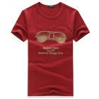 1807 Fashion Sunglasses Pattern Nylon Short-Sleeve T-Shirt - Red (L)