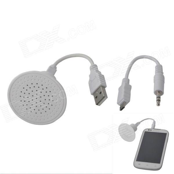 SP-01 Stereo Compact Speaker w/ 3.5mm Plug for IPHONE / IPOD - White