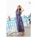 8069 Casual Leopard Pattern Micro Fiber Halter Beach Dress - Purple + Multicolored (Free Size)