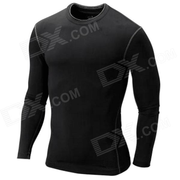 WJH Outdoor Sports Polyester + Spandex Tight Long-Sleeve Shirt for Men - Black (L) - DXShirt<br>Elastic material makes you comfortable; Tight design can improve efficiency of muscles and reduce shock and shake of muscles.<br>