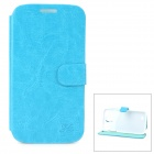 Hualaishi Protective PU Leather + ABS Case w/ Stand for Samsung S4 / i9500 - White + Blue