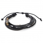 Stylish Split Leather Bracelet - Black