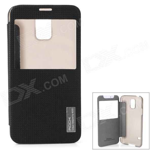 ROCK TZ-S5001 Protective PC + PU Case w/ Auto-Sleep for Samsung Galaxy S5 - Black + Transparent растение экочеловеки eco совы 5001 3шт