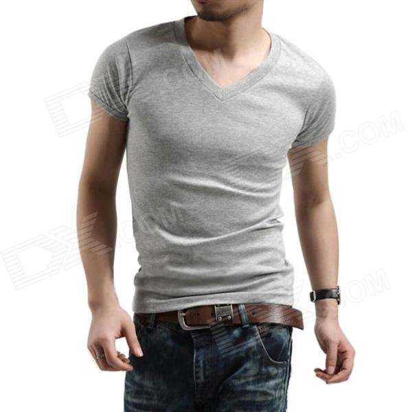 T-01 Cotton Tight V-Neck Short-Sleeve T-shirt for Men - Grey (XL) creative pattern pure cotton short sleeve t shirt for men grey size s