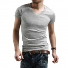 T-01 Cotton Tight V-Neck Short-Sleeve T-shirt for Men - Grey (XL)