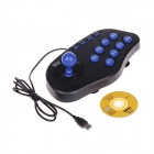 WELCOM WE 6100 Wired USB Arcade Vibration Joystick Controller för PC - Svart + Blå